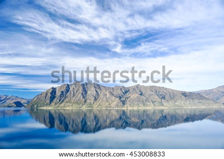 Lake hawea at the Neck in New Zealand - stock photo