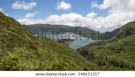 Lake in a volcanic crater in the Azores - stock photo