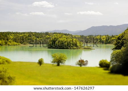lake in bavaria - ostersee - stock photo