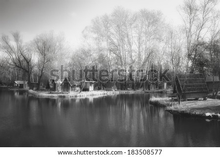 Lake in black and white - stock photo