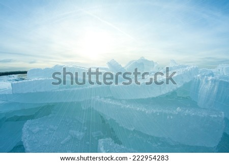 Lake in deep cold winter Alps Austria - stock photo