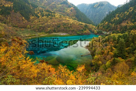 Lake in Jiuzhaigou national park, China - stock photo