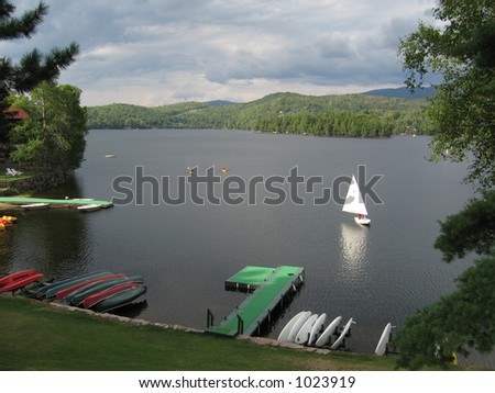 lake in quebec, canada - stock photo