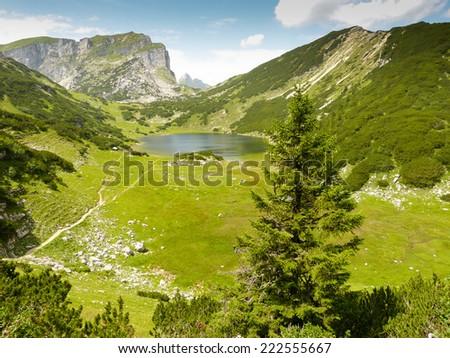 Lake in the alps - stock photo