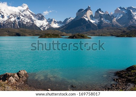 Lake in Torres del Paine National park in Chile. Patagonia.  - stock photo