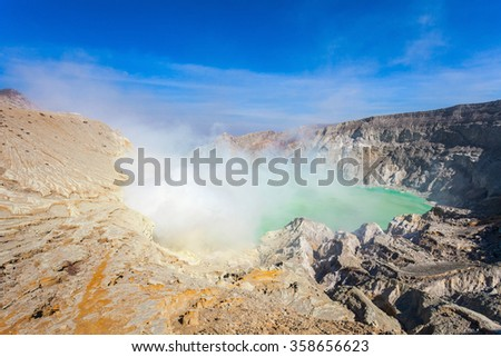 Lake inside the Ijen volcano, Ijen volcano is a stratovolcano in the Banyuwangi Regency of East Java, Indonesia. - stock photo