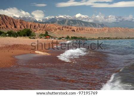 Lake  Issyk-kul . Kyrgyzstan. Summer. - stock photo