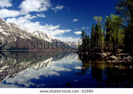 Lake Jenny - Grand Tetons - stock photo