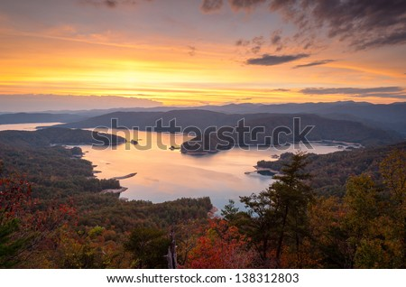 Lake Jocassee Autumn Scenic Upstate South Carolina Mountains - stock photo