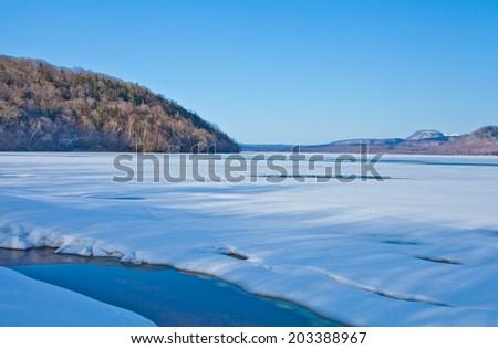 lake Kussharo in early spring, Hokkaido, Japan. - stock photo