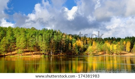 lake landscape during Fall season - stock photo