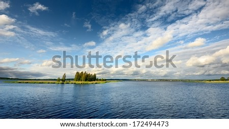 lake landscape in summer - stock photo