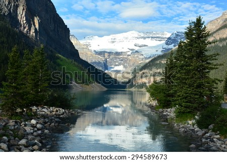 Lake Louise Alberta Canada, in the heart of Banff National Park. - stock photo
