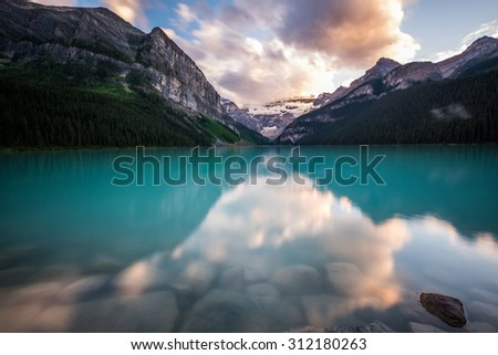 Lake Louise at sunset in Banff National Park, Canada. - stock photo