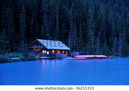 Lake Louise Boat House at Night Horizontal - stock photo