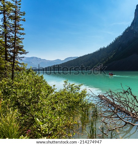 Lake Louise Canoe tour at the banff national park canada - stock photo