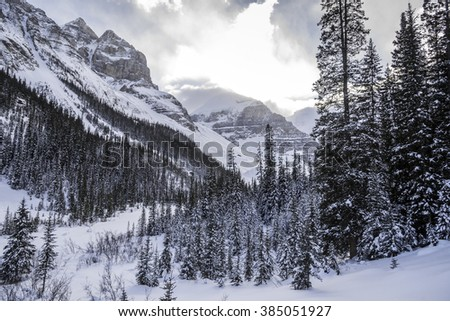 Lake Louise in Banff Park in winter time, Alberta, Canada - stock photo