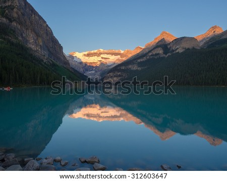 Lake Louise/Lake Louise at sunrise - stock photo