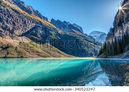 Lake Louise Sunburst in Banff National Park, Alberta, Canada - stock photo