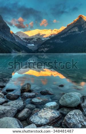 Lake Louise Sunrise, Banff National Park, Alberta, Canada - stock photo