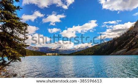 Lake Louise with Unity Peak and Whitehorn Mountain in Background in Banff National Park in the Canadian Rockies - stock photo