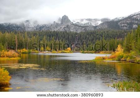 Lake Mamie landscape on a rainy day in California near Mammoth lakes - stock photo