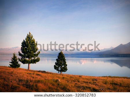 Lake Matheson Mt Cook New Zealand Tranquil Nature Concept - stock photo