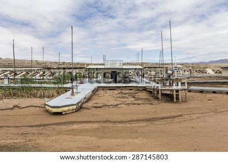 Lake Mead, Nevada, USA - May 9, 2015:  Severe drought damage at Lake Mead's Echo Bay Marina.   - stock photo