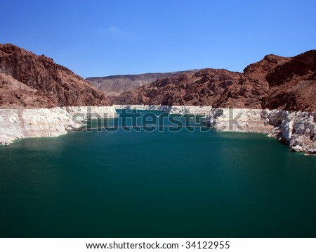 Lake Mead upper of Hoover Dam - stock photo