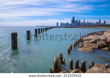 Lake Michigan On A Beautiful Day In Chicago Illinois, USA - stock photo