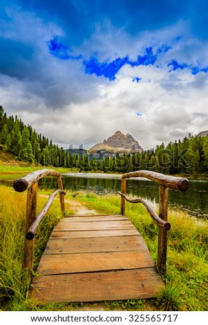 Lake Misurina, Auronzo di Cadore, Dolomites,Italy  - stock photo