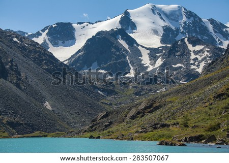 lake, mountain, glacier - stock photo