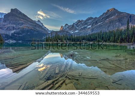 Lake O'Hara reflection ar Dawn in Yoho National Park, British Columbia, Canada - stock photo