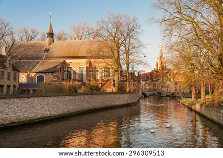 Lake of Love and Benedectine monastery in historic Bruges, Belgium - stock photo