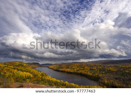 Lake of the Clouds in the Porcupine Mountains, in the Upper Peninsula of Michigan. - stock photo