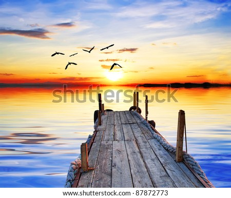 Lake of the colors and the birds - stock photo