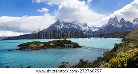 Lake Pehoac front The Horns mountain - stock photo