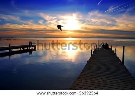 Lake Piers - stock photo