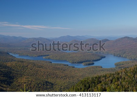 Lake Placid view from top of Whiteface Mountain, New Tork, USA - stock photo
