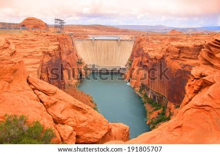 Lake Powell dam in Page Arizona - stock photo
