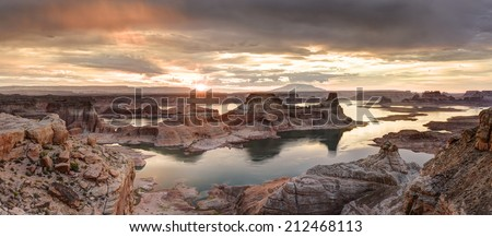 Lake Powell view from  Alstrom point in Glen Canyon National Recreation area. - stock photo
