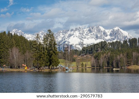 Lake Schwarzsee in Tirol, Austria - stock photo