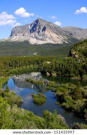 Lake Sherburne in Glacier national park - stock photo