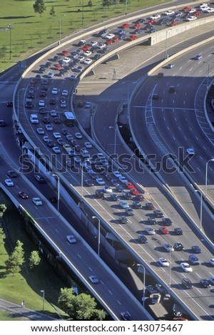 Lake Shore Drive at Rush Hour, Chicago, Illinois - stock photo