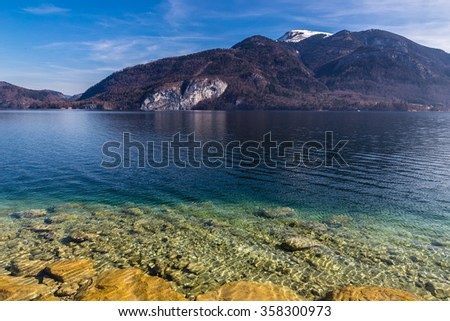 Lake Shore Of Turquoise Wolfgang Lake With Grosser Hollkogel In The Background-Salzkammergut, Austria,Europe - stock photo