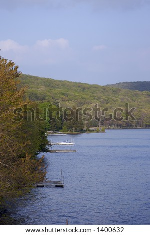 Lake Shoreline with Docks - stock photo