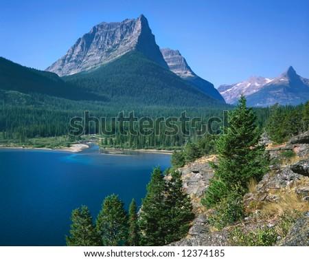 Lake St Mary, Glacier National Park, Montana - stock photo