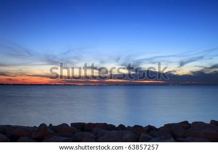 Lake Sunset Sunset over a lake. Horizontal. - stock photo