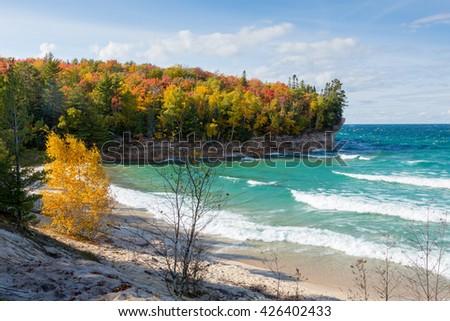 Lake Superior Chapel Beach - Pictured Rocks National Lakeshore along the coast of Lake Superior near Munising Michigan in Autumn - stock photo