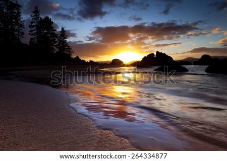 Lake Tahoe Nevada Sunset at Sand Harbor Beach - stock photo